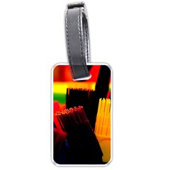 Plastic Brush Color Yellow Red Luggage Tags (one Side)