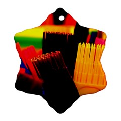 Plastic Brush Color Yellow Red Ornament (snowflake)