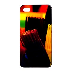 Plastic Brush Color Yellow Red Apple Iphone 4/4s Seamless Case (black)
