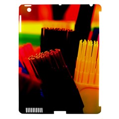 Plastic Brush Color Yellow Red Apple Ipad 3/4 Hardshell Case (compatible With Smart Cover)