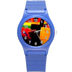 Plastic Brush Color Yellow Red Round Plastic Sport Watch (s)
