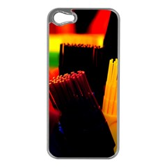Plastic Brush Color Yellow Red Apple Iphone 5 Case (silver)