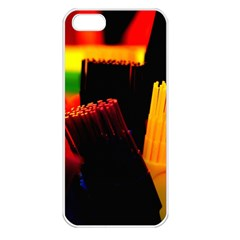 Plastic Brush Color Yellow Red Apple Iphone 5 Seamless Case (white)