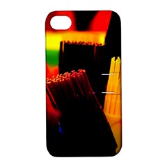 Plastic Brush Color Yellow Red Apple Iphone 4/4s Hardshell Case With Stand