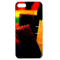 Plastic Brush Color Yellow Red Apple Iphone 5 Hardshell Case With Stand