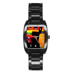 Plastic Brush Color Yellow Red Stainless Steel Barrel Watch