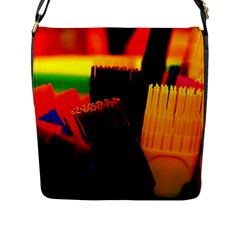 Plastic Brush Color Yellow Red Flap Messenger Bag (l)