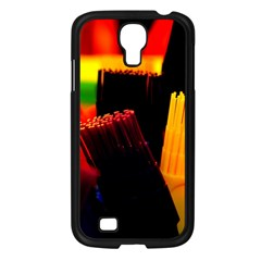 Plastic Brush Color Yellow Red Samsung Galaxy S4 I9500/ I9505 Case (black)