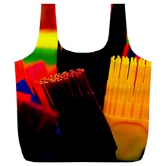Plastic Brush Color Yellow Red Full Print Recycle Bags (l)