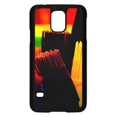 Plastic Brush Color Yellow Red Samsung Galaxy S5 Case (black)