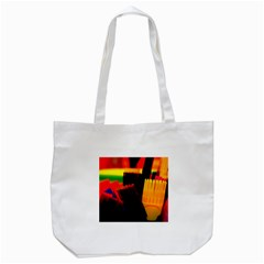 Plastic Brush Color Yellow Red Tote Bag (white)