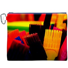 Plastic Brush Color Yellow Red Canvas Cosmetic Bag (xxxl)