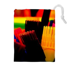 Plastic Brush Color Yellow Red Drawstring Pouches (extra Large)