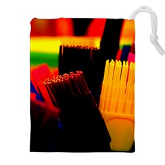 Plastic Brush Color Yellow Red Drawstring Pouches (XXL)