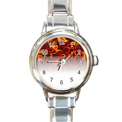 Effect Pattern Brush Red Round Italian Charm Watch
