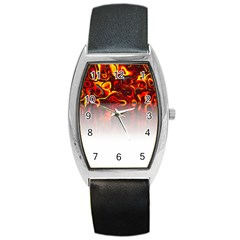 Effect Pattern Brush Red Barrel Style Metal Watch