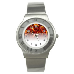Effect Pattern Brush Red Stainless Steel Watch