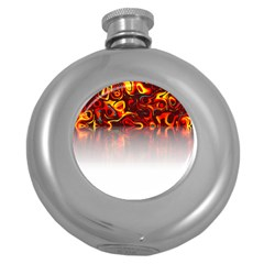 Effect Pattern Brush Red Round Hip Flask (5 oz)