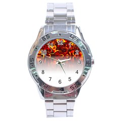 Effect Pattern Brush Red Stainless Steel Analogue Watch