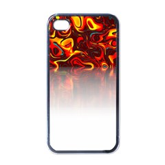 Effect Pattern Brush Red Apple Iphone 4 Case (black)