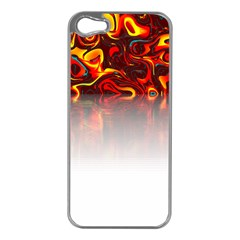 Effect Pattern Brush Red Apple Iphone 5 Case (silver)