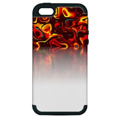 Effect Pattern Brush Red Apple Iphone 5 Hardshell Case (pc+silicone)
