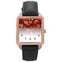 Effect Pattern Brush Red Rose Gold Leather Watch