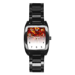 Effect Pattern Brush Red Stainless Steel Barrel Watch
