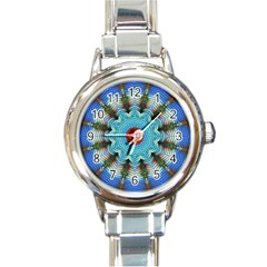 Pattern Blue Brown Background Round Italian Charm Watch