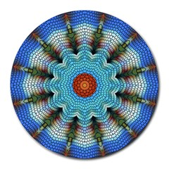 Pattern Blue Brown Background Round Mousepads