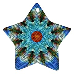Pattern Blue Brown Background Ornament (star)