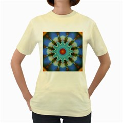 Pattern Blue Brown Background Women s Yellow T-Shirt