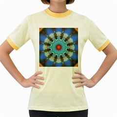 Pattern Blue Brown Background Women s Fitted Ringer T Shirts
