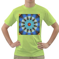 Pattern Blue Brown Background Green T-Shirt