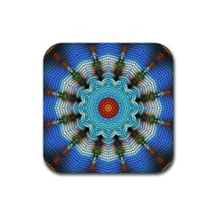 Pattern Blue Brown Background Rubber Coaster (square)