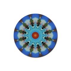 Pattern Blue Brown Background Rubber Coaster (round)