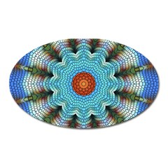 Pattern Blue Brown Background Oval Magnet