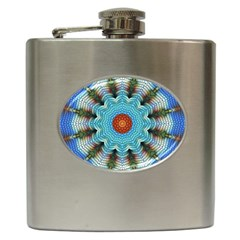 Pattern Blue Brown Background Hip Flask (6 oz)