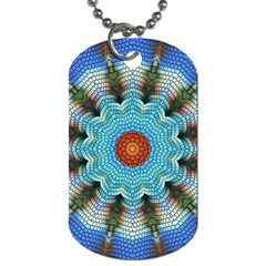 Pattern Blue Brown Background Dog Tag (two Sides)