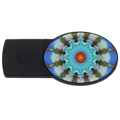 Pattern Blue Brown Background Usb Flash Drive Oval (2 Gb)
