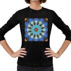 Pattern Blue Brown Background Women s Long Sleeve Dark T Shirts