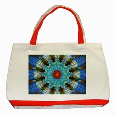 Pattern Blue Brown Background Classic Tote Bag (red)