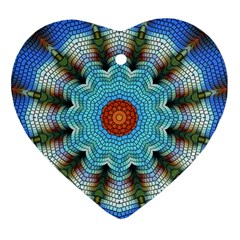Pattern Blue Brown Background Heart Ornament (2 Sides)