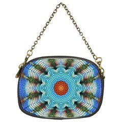 Pattern Blue Brown Background Chain Purses (one Side)