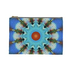 Pattern Blue Brown Background Cosmetic Bag (large)