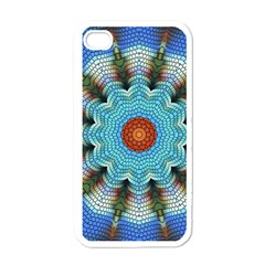 Pattern Blue Brown Background Apple Iphone 4 Case (white)