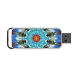 Pattern Blue Brown Background Portable Usb Flash (two Sides)