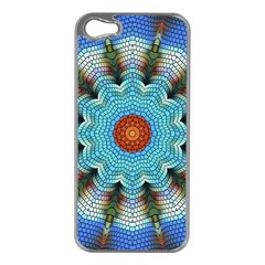Pattern Blue Brown Background Apple Iphone 5 Case (silver)