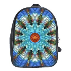 Pattern Blue Brown Background School Bags (xl)