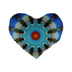 Pattern Blue Brown Background Standard 16  Premium Heart Shape Cushions